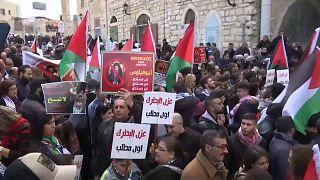 تظاهرات في بيت لحم احتجاجا على زيارة بطريرك الروم الأرثوذوكس
