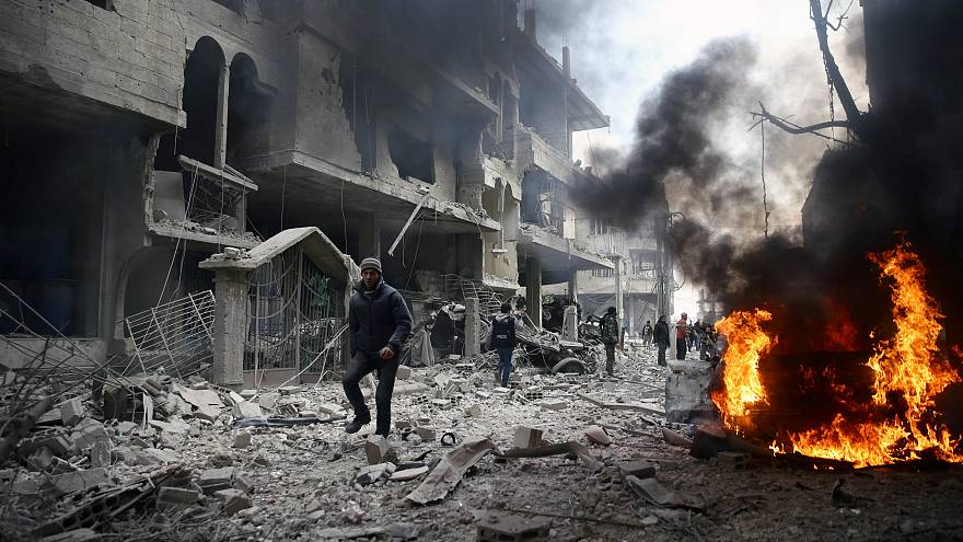 The besieged town of Hamoria, Eastern Ghouta, Syria, January 6, 2018