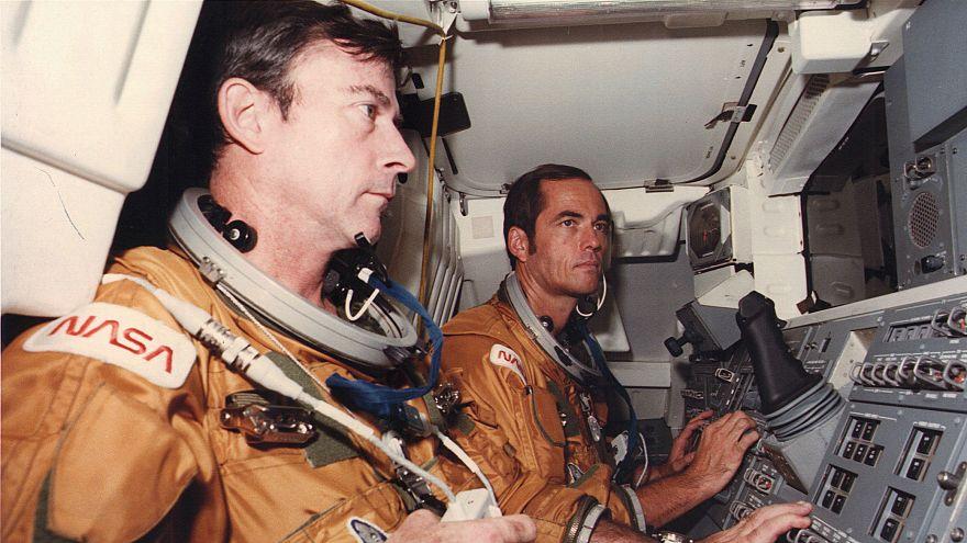 Astronauts John Young (L) and Robert Crippen (R), Oct. 10, 1980