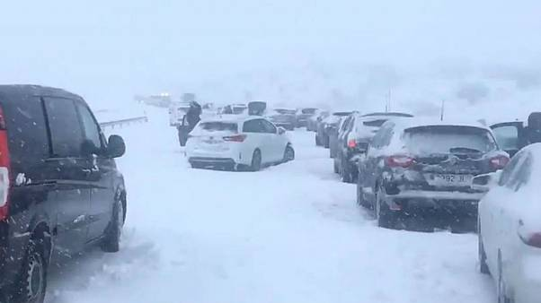 Cars trapped overnight on Spanish motorway due to snow