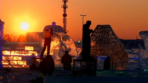 Harbin Uluslararası Buz ve Kar Heykel Festivali başladı