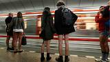 Europeans take off their trousers for annual 'No Pants Subway Ride'