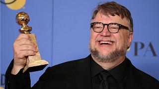 Guillermo del Toro poses backstage at the 75th Golden Globe Awards