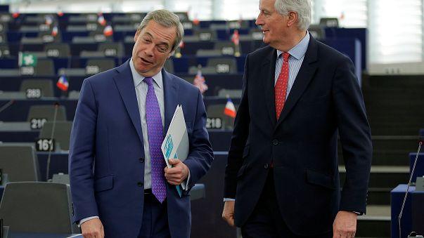 Nigel Farage and Michel Barnier in the European Parliament last year
