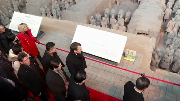 The French president views China's Terracotta Army
