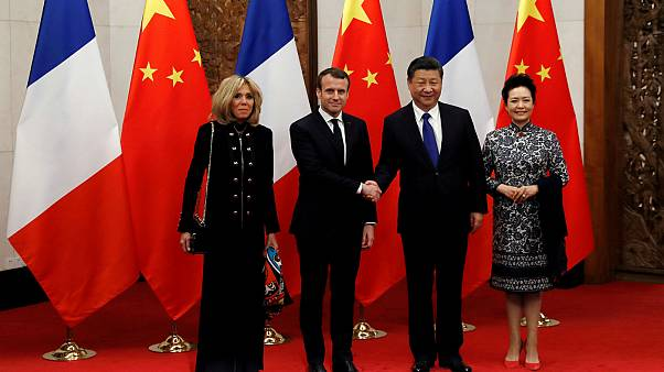 French President Emmanuel Macron and his wife Brigitte Macron pose with Chi