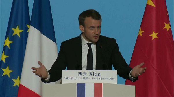 """Macron na China: """"A Europa está de volta"""""""
