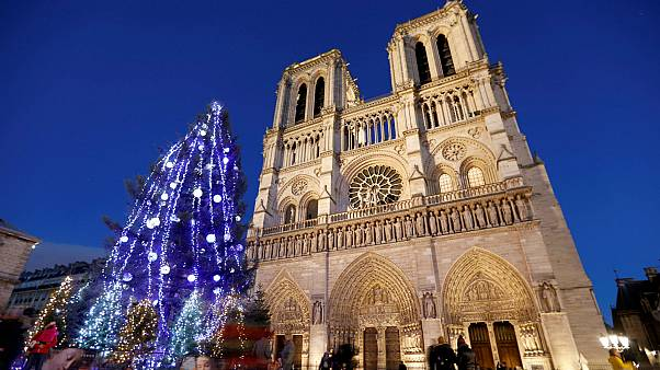 Notre Dame Cathedral in Paris, France - Dec. 12, 2017