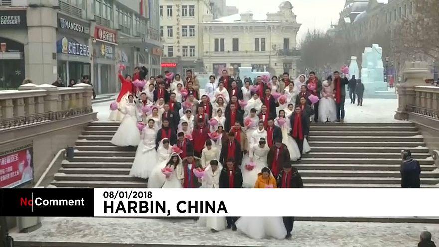 """""""Ледовая"""" свадьба в Китае"""