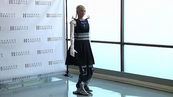 Human-like robot Sophia 'takes her first steps'