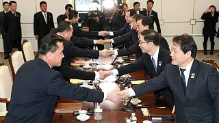 South and North Korean delegations