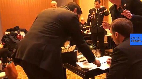 Emmanuel Macron prepares a speech