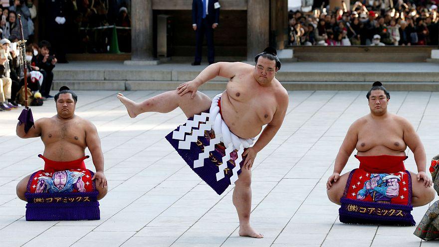 Yokozuna Kisenosato performs the ring-entering rite at Meiji Shrine, Tokyo