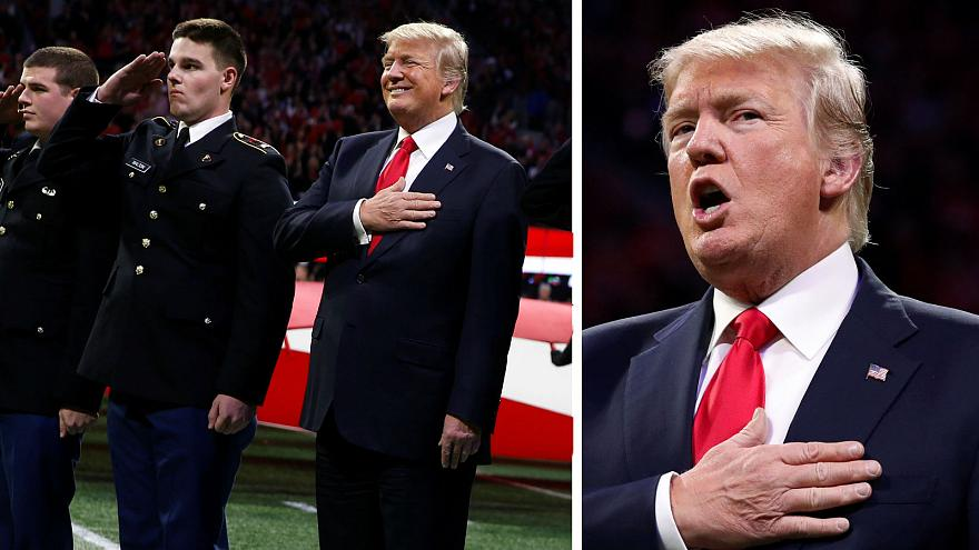 هل نسي ترامب كلمات النشيد الوطني الأميركي؟
