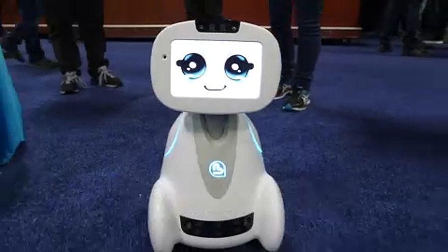 A robot enjoying CES 2018