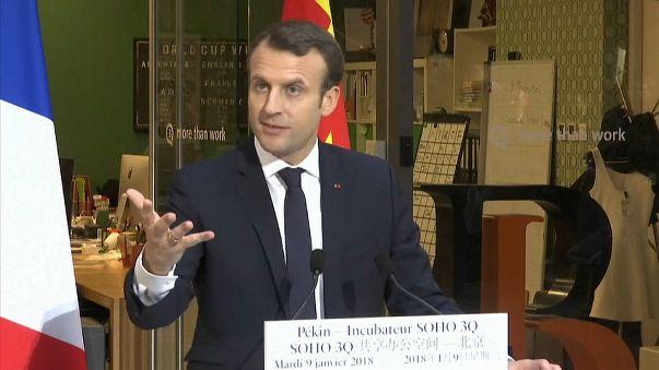 Macron quer balança comercial equilibrada com China