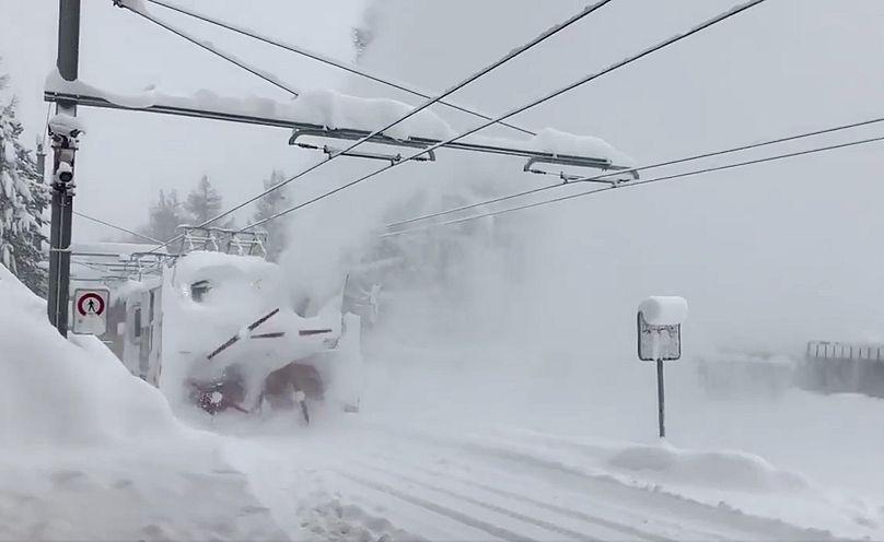 Train clears the snow in Zermatt