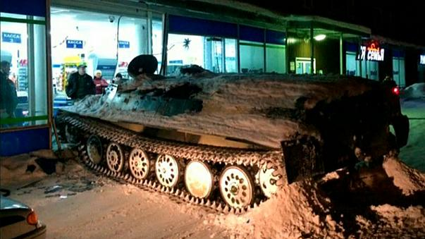 Russian man rams stolen armoured personnel carrier into shop, steals wine