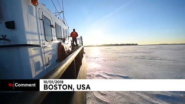 Rebocador quebra-gelo junto ao porto de Boston