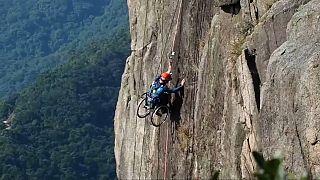 Lai Chi-wai climbing Hong Kong's Lion Rock