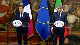 Emmanuel Macron and Paolo Gentiloni hold press conference in Rome