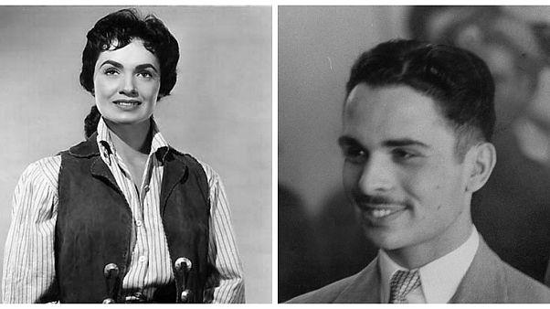 الملك الراحل حسين بن طلال والممثلة الراحلة سوزان كابوت