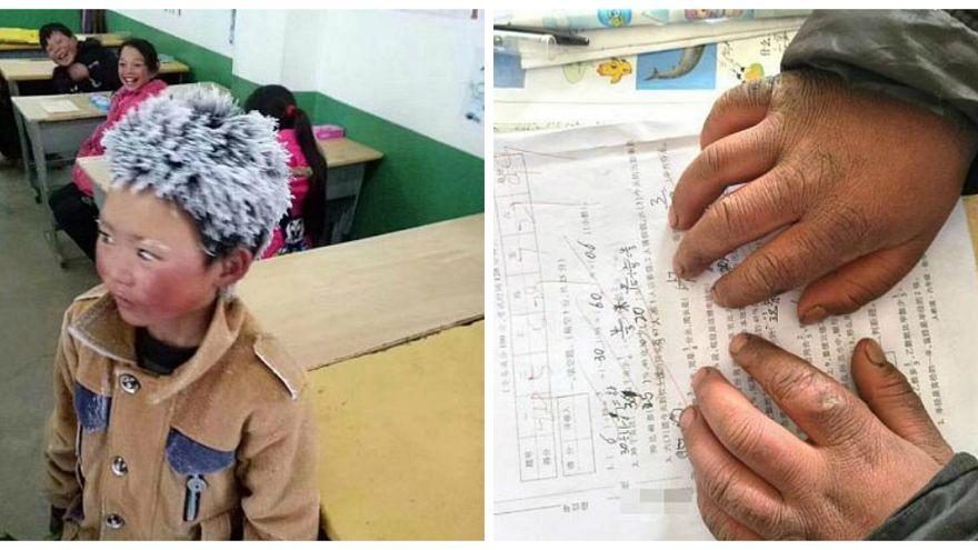 """في الصين... """"صبيُّ الثلج"""" يطلب العلم في البرد القارس"""
