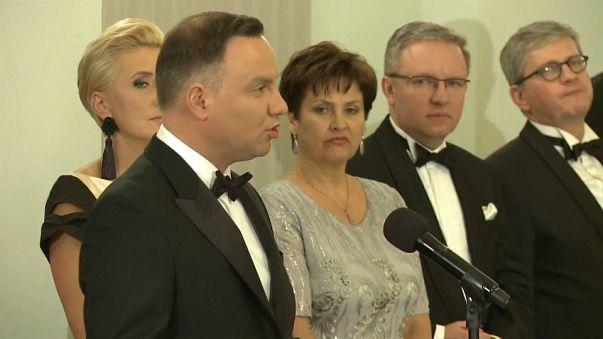 El presidente polaco durante su discurso