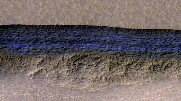A cross-section of Mars' underground ice shown in blue on this NASA image