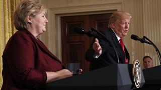 U.S. President Donald Trump speaks as Norwegian Prime Minister Erna Solberg