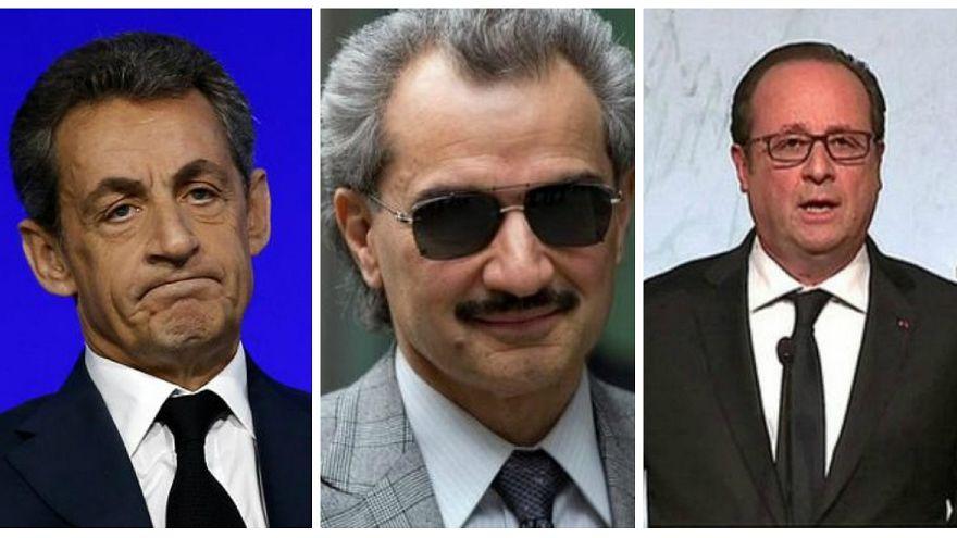فرانسوا هولاند (يمين) والوليد بن طلال ونيكولا ساركوزي