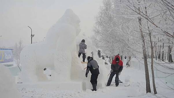 Festival de esculturas de gelo na Sibéria