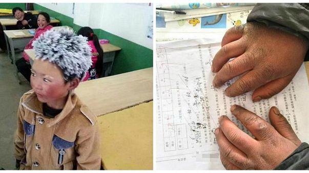 """صينيون يكرمون """"صبيّ الثلج"""" الفقير الذي مشى في البرد القارس طلباً للعلم"""
