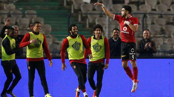 Al Ahly's Walid Azaro celebrates scoring