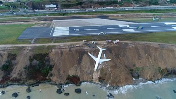 Turkey: Plane skids off runway landing metres from sea