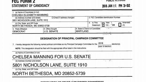 """La dichiarazione di candidatura"" di Chelsea Elizabeth Manning"