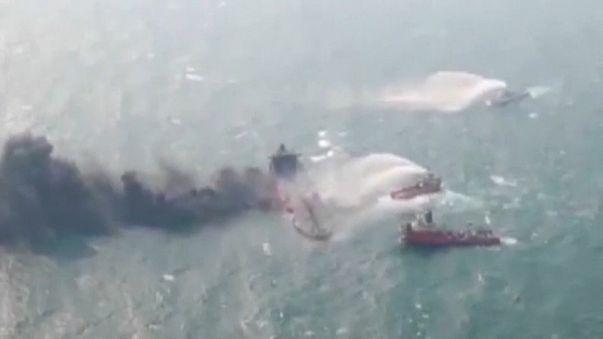 Se hunde el petrolero iraní en llamas desde su colisión con un carguero chino