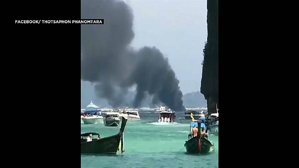 Thai tourist boat on fire