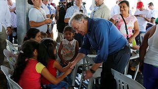 Guterres visita centro de reinserción de las FARC en Buenavista