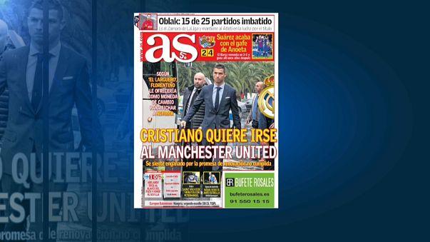 """رونالدو سيغادر ريال لينضم الى مانشستر يونايتد وفق صحيفة """"آس"""" الاسبانية"""
