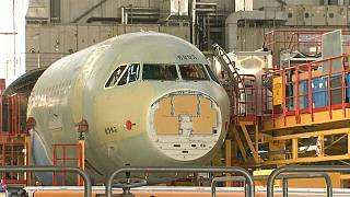 Airbus A380 airliner in production