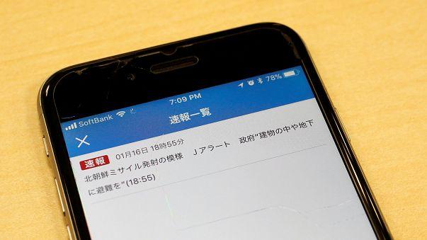 La notifica sul cellulare del falso allarme lanciato dalla TV giapponese
