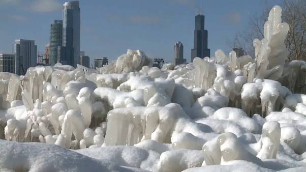 New cold snap converts beach of Lake Michigan in Chicago into an ice sculpture park