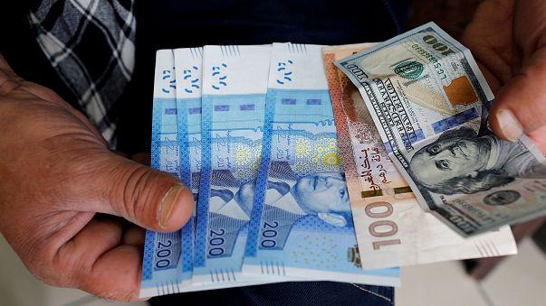 Moroccan dirhams and U.S. dollar notes