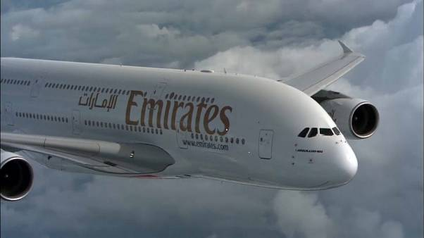 File photo of Emirates A380 airliner in flight