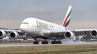 Az Emirates légitársaság egyik A380-as utasszállítója