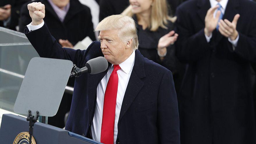 Donald Trump nach seine Rede zur Amtseinführung