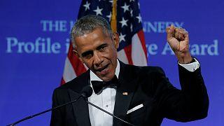 Former U.S. President Barack Obama speaks after receiving the 2017 Profile