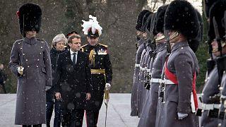 French President Emmanuel Macron inspects troops at Sandhurst