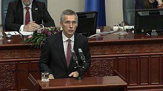 NATO Secretary-General Jens Stoltenberg addresses Macedonian parliament